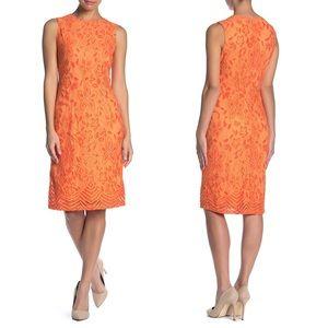 Orange Sleeveless Lace Midi Dress